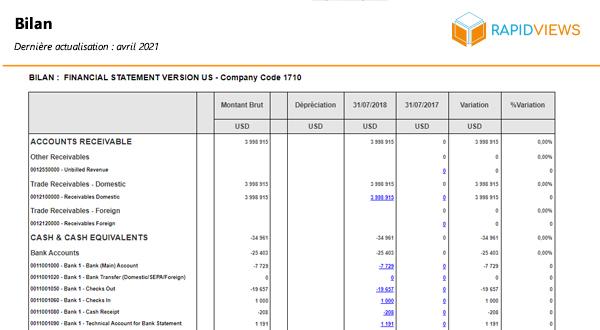 Rapport SAP FI-GL Bilan