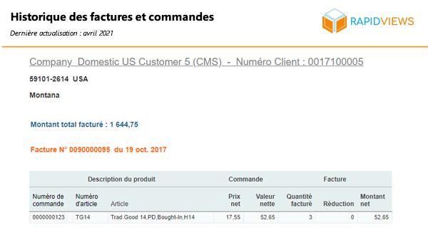 Rapport SAP SD Historique factures commandes