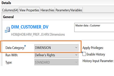 Vue dimensionnelle SAP HANA Dimension