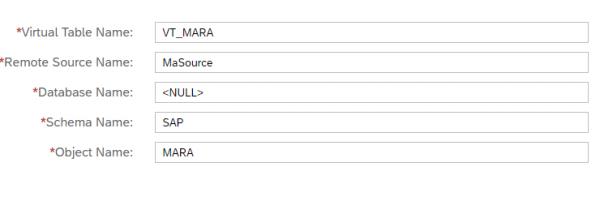 Création table virtuelle SAP HANA